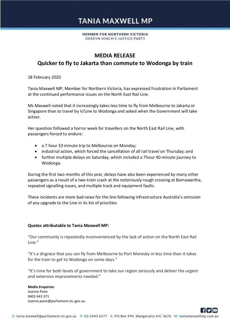 MEDIA RELEASE - TANIA MAXWELL Quicker to fly to Jakarta than to commute to Wodonga.